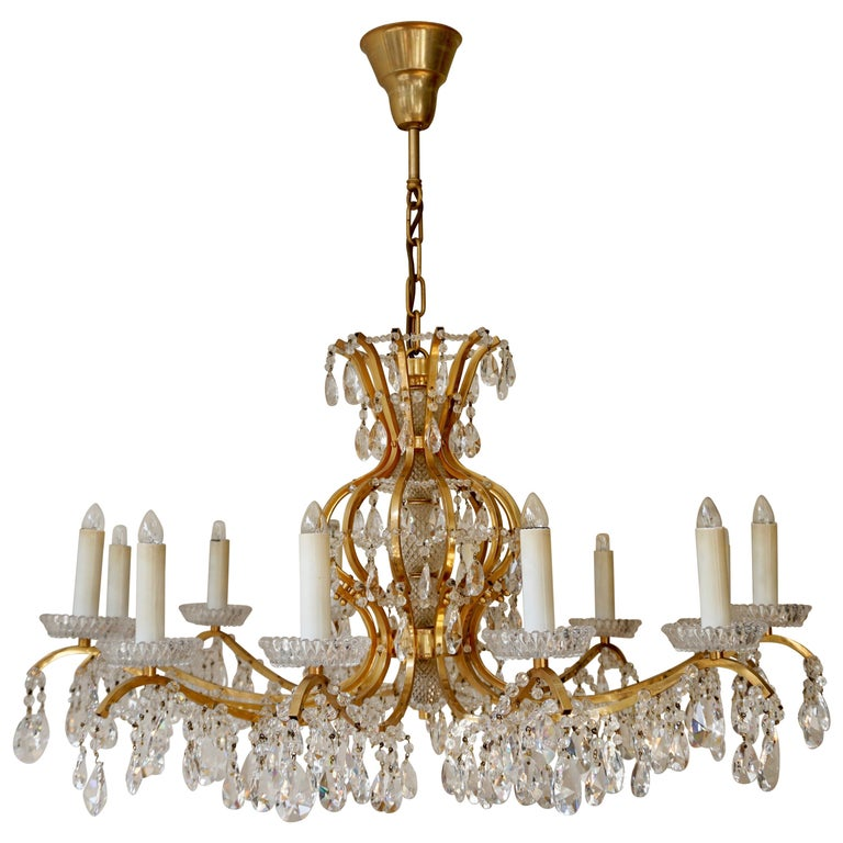 Gilded Brass Crystal Chandelier
