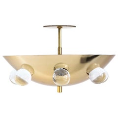 Gilded Brass Crystal Orb Ceiling Fixture