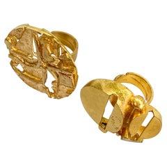 Gilded Brass Finland Jorma Laine Turun Hopea Two Rings