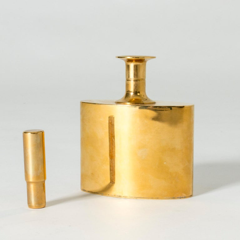 Scandinavian Modern Gilded Brass Flask by Pierre Forssell For Sale