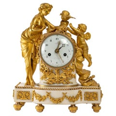 Gilded Bronze and White Marble Clock