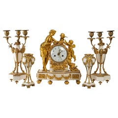 Gilded Bronze and White Marble Trim, 19th Century