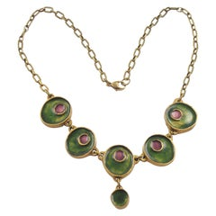 Gilded Bronze Choker Necklace Green Purple Enamel