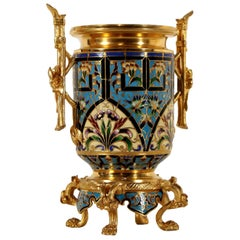 Gilded Bronze Flower Pot Enamel Decoration, France, Late 19th Century