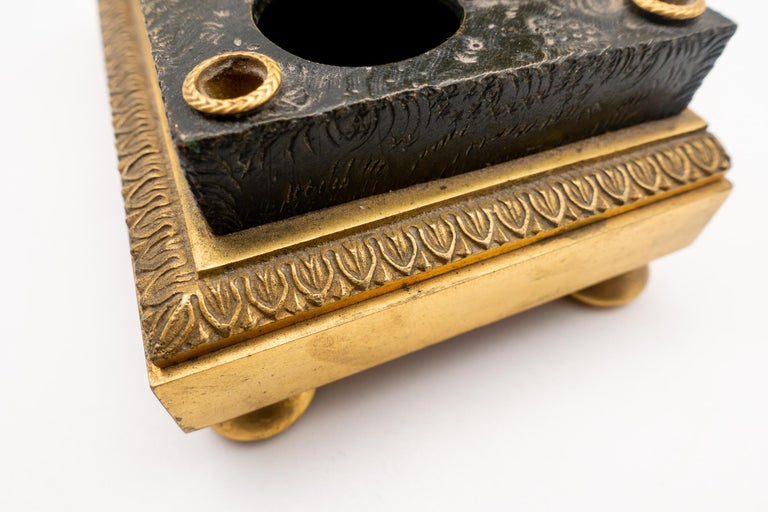 Gilded Bronze French Inkwell of and Sheep and Its Lamb, Early 19th Century For Sale 1