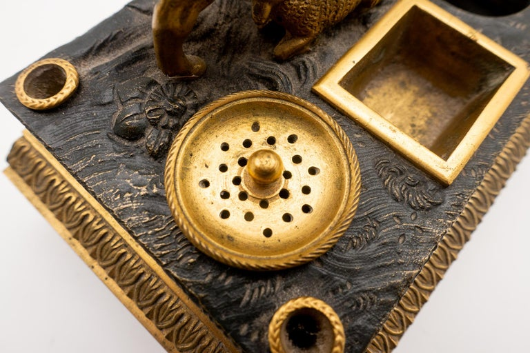 Gilded Bronze French Inkwell of and Sheep and Its Lamb, Early 19th Century For Sale 2