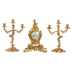 Gilded Bronze Louis XV Style Mantel Set