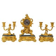 Gilded Bronze Mantel Set, Louis XV Style