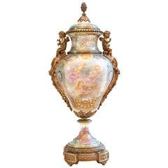 Gilded Bronze Mounted Cobalt Blue Sèvres Style Porcelain