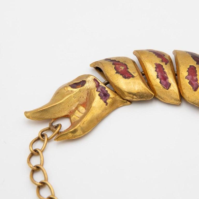 French Gilded Bronze Necklace with Enamel Decoration, La Femme du Dragon, Line Vautrin For Sale