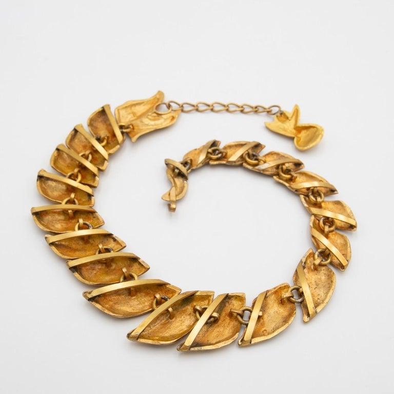 Mid-20th Century Gilded Bronze Necklace with Enamel Decoration, La Femme du Dragon, Line Vautrin For Sale
