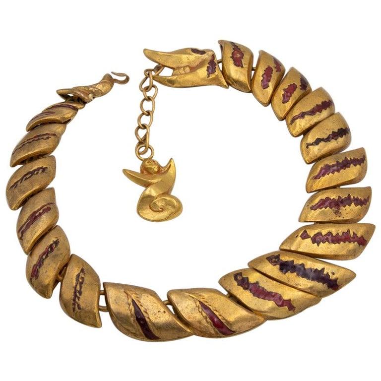 Gilded Bronze Necklace with Enamel Decoration, La Femme du Dragon, Line Vautrin For Sale