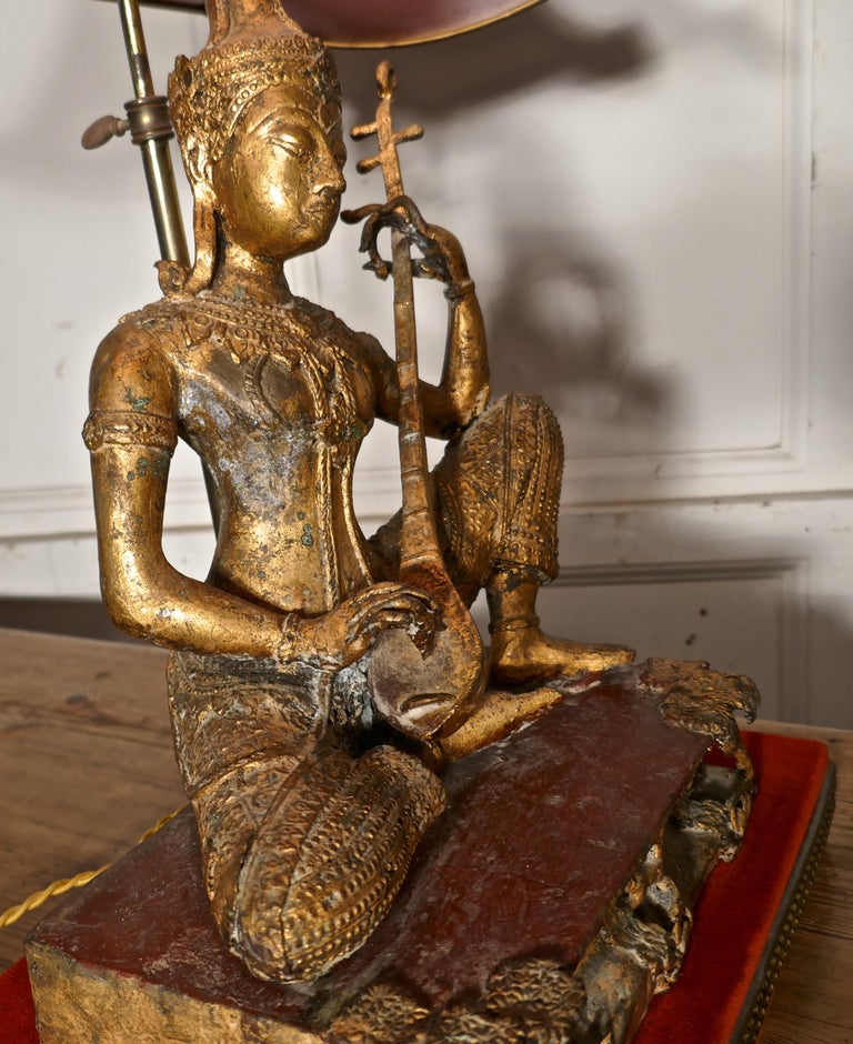 Empire Gilded Bronze Seated Buddha Table Lamp For Sale