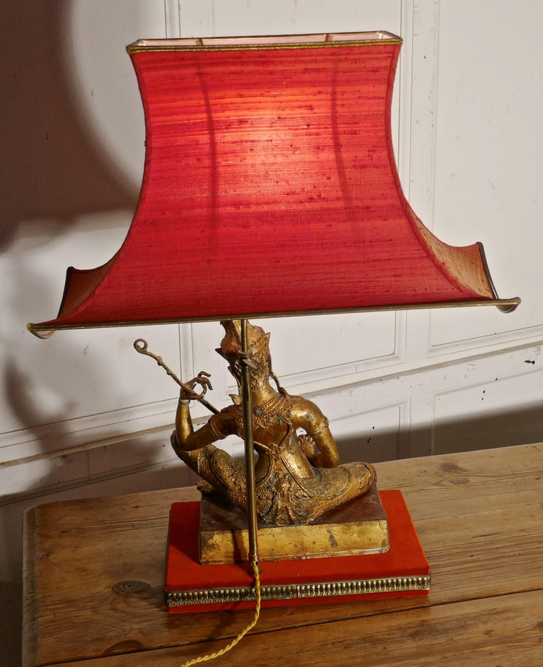 19th Century Gilded Bronze Seated Buddha Table Lamp For Sale
