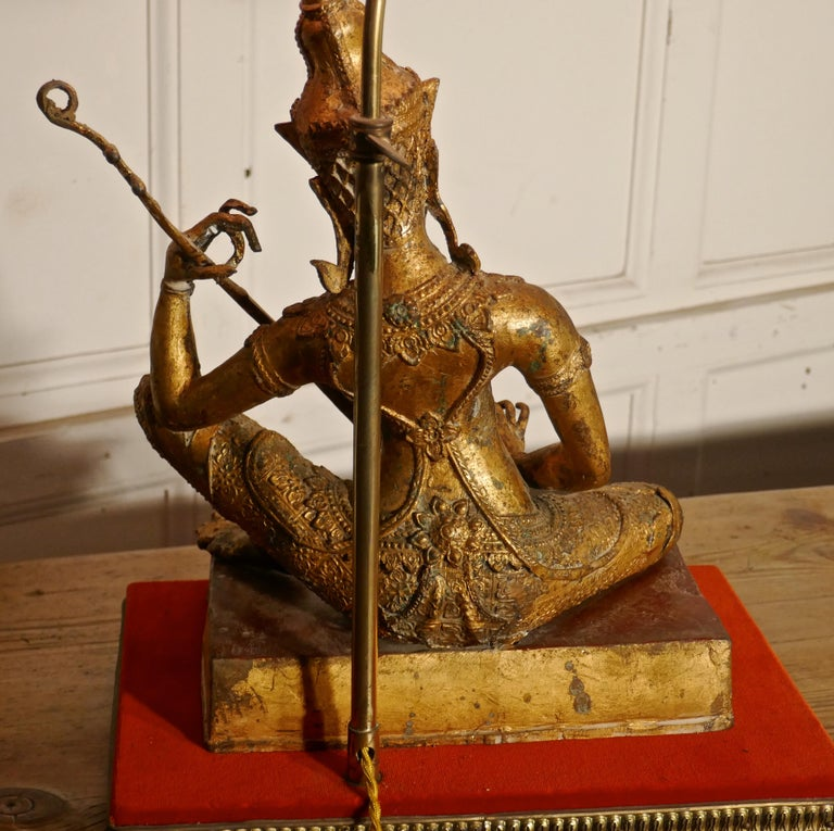 Gilded Bronze Seated Buddha Table Lamp For Sale 1