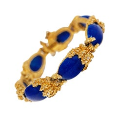 Gilded Brutalist Faux Lapis Bracelet by Panetta, circa 1960s