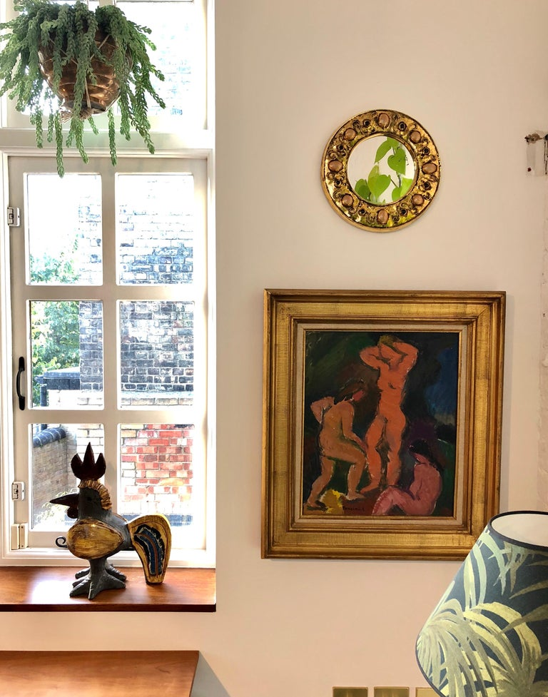 Gilded Ceramic Decorative Wall Mirror by François Lembo, circa 1960s-1970s For Sale 2
