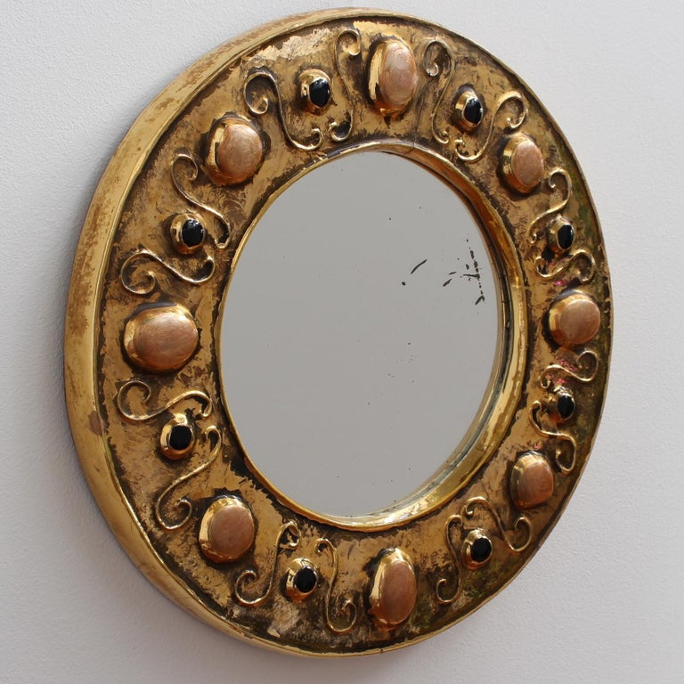 Modern Gilded Ceramic Decorative Wall Mirror by François Lembo, circa 1960s-1970s For Sale