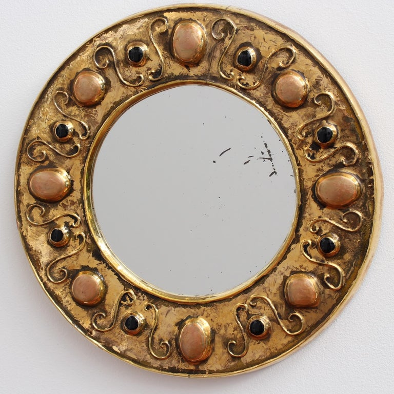 Glazed Gilded Ceramic Decorative Wall Mirror by François Lembo, circa 1960s-1970s For Sale