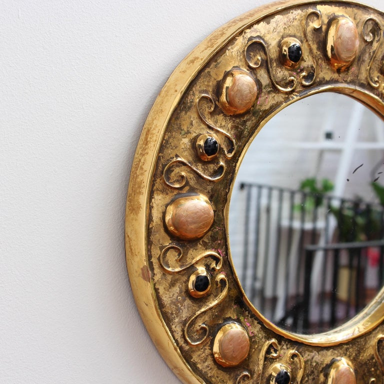Gilded Ceramic Decorative Wall Mirror by François Lembo, circa 1960s-1970s In Fair Condition For Sale In London, GB