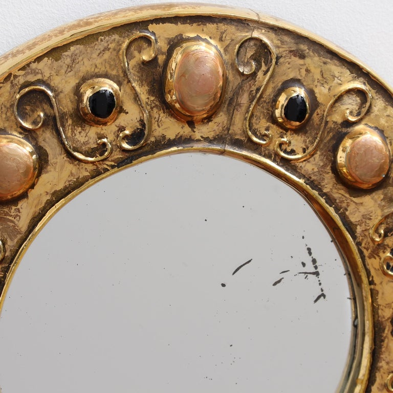 20th Century Gilded Ceramic Decorative Wall Mirror by François Lembo, circa 1960s-1970s For Sale