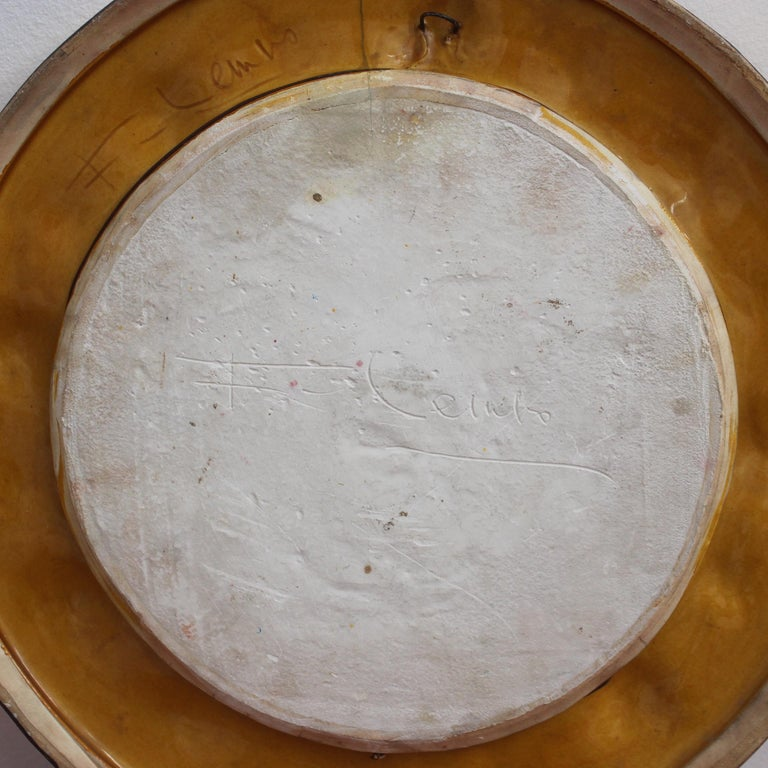 Enamel Gilded Ceramic Decorative Wall Mirror by François Lembo, circa 1960s-1970s For Sale
