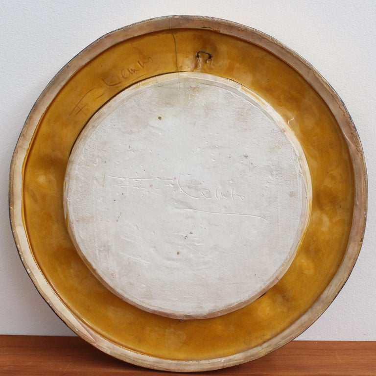 Gilded Ceramic Decorative Wall Mirror by François Lembo, circa 1960s-1970s For Sale 1
