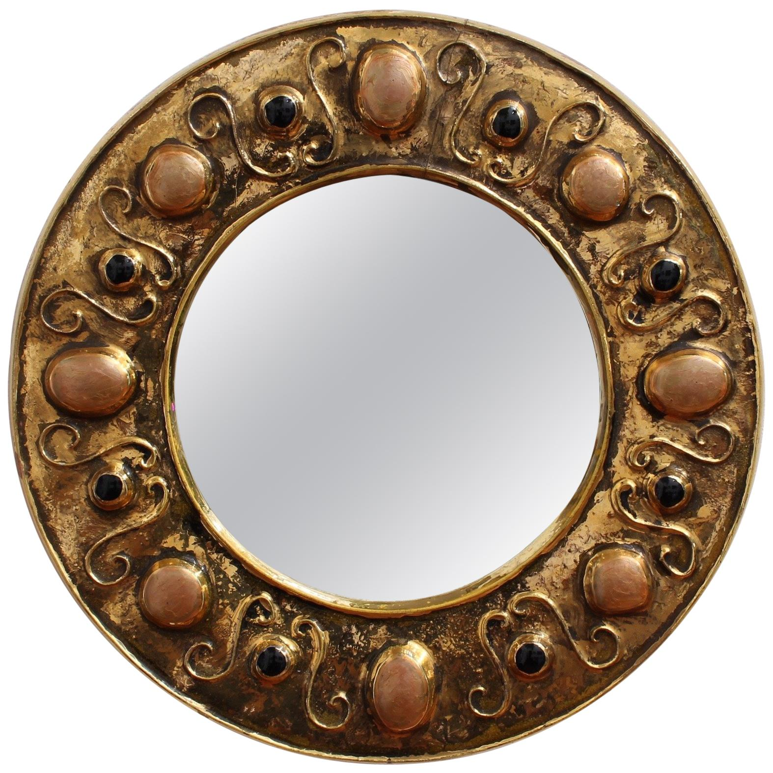 Gilded Ceramic Decorative Wall Mirror by François Lembo, circa 1960s-1970s