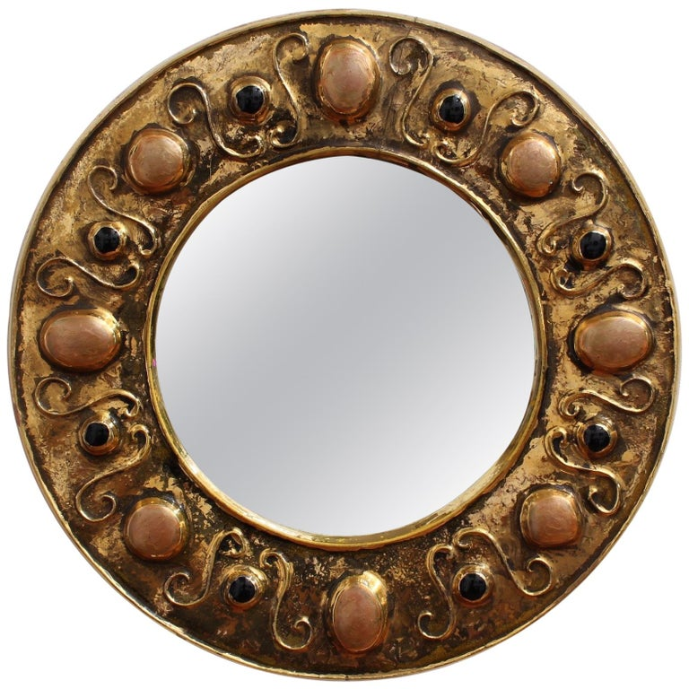 Gilded Ceramic Decorative Wall Mirror by François Lembo, circa 1960s-1970s For Sale