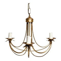 Antique Italian Gilded Three Light Chandelier