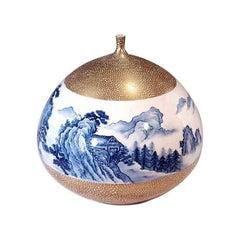 Gilded Contemporary Japanese Imari Decorative Porcelain Vase by Master Artist