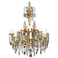 Vergoldeter Bohemia Kronleuchter Kristall Antike Deckenleuchte Lüster Jugendstil