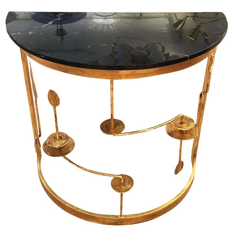 Gilded Demilune Console by Banci For Sale