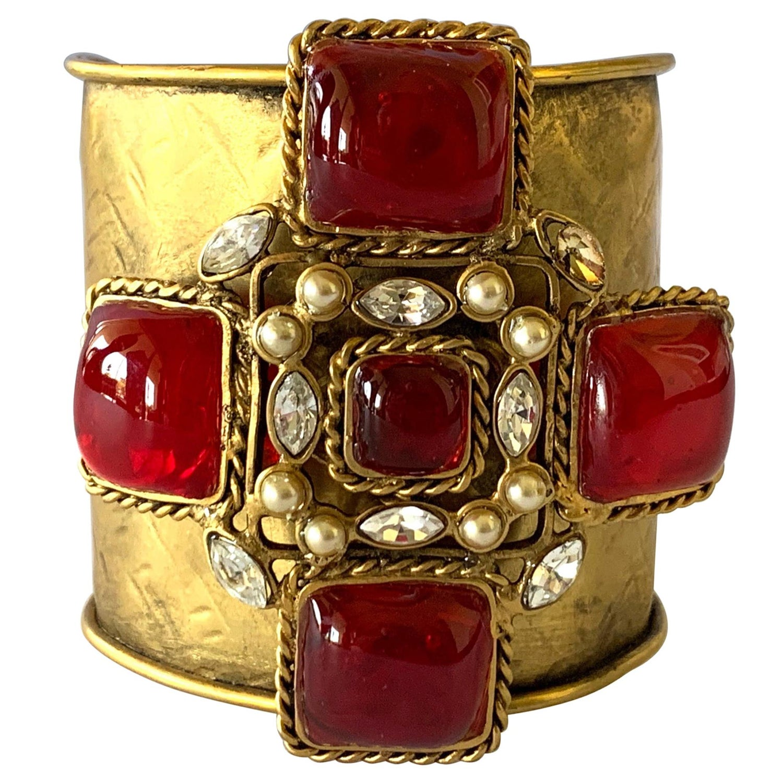 Vintage Silver Tone Maltese Cross Cuff Bracelet Statement Piece