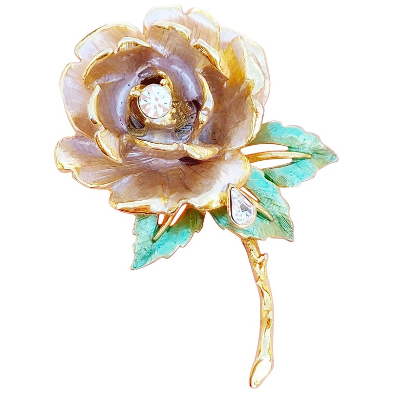 "Gilded ""England's Rose"" Princess Diana Memorial Brooch by R.J. Graziano, 1997 For Sale"