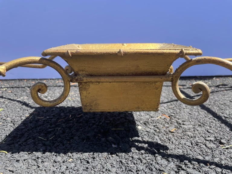 20th Century Gilded Faux Bamboo Coffee Table Base For Sale