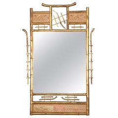 Gilded Faux Bamboo Tapestry Paneled Wall Mirror