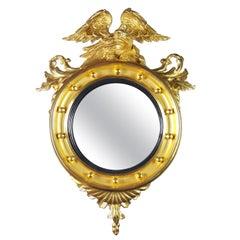 Gilded Federal American Eagle Convex Mirror, circa 1820