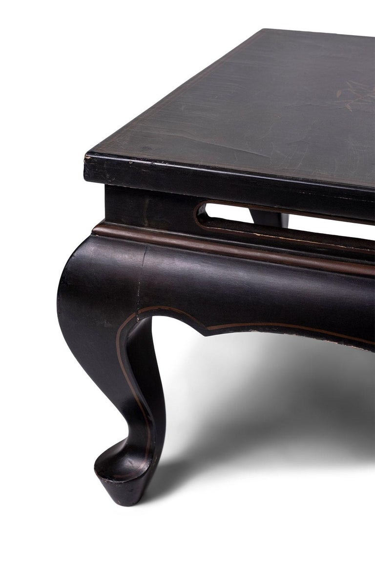 Chinoiserie Gilded Chinese Style Black Lacquer Coffee Table For Sale