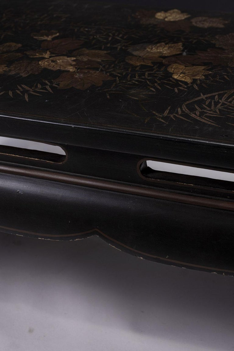 French Gilded Chinese Style Black Lacquer Coffee Table For Sale