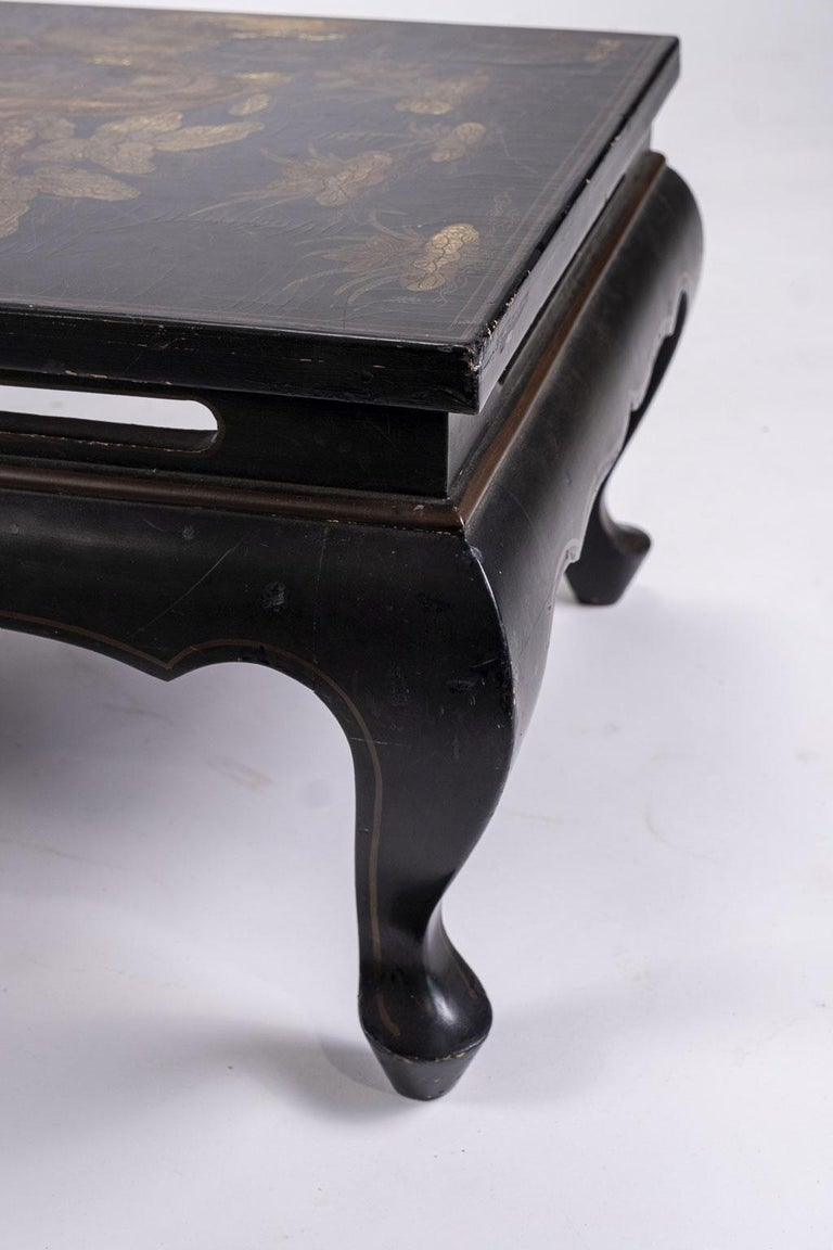 Early 20th Century Gilded Chinese Style Black Lacquer Coffee Table For Sale