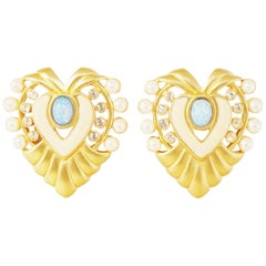 """Gilded """"Heart of Hollywood"""" Oversized Statement Earrings By Elizabeth Taylor"""