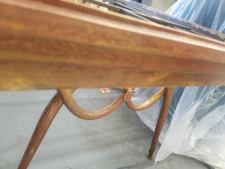 French Gilded Iron Dining Table by René Drouet, France, 1940s For Sale