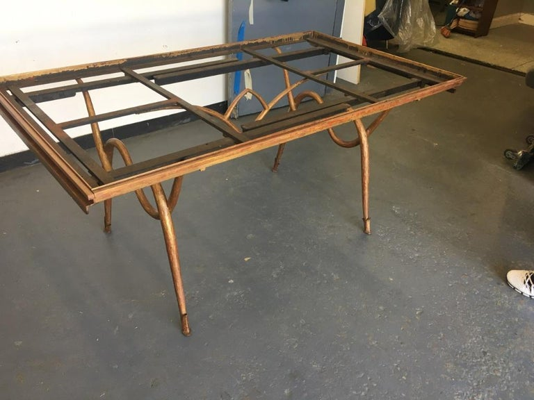Gilt Gilded Iron Dining Table by René Drouet, France, 1940s For Sale