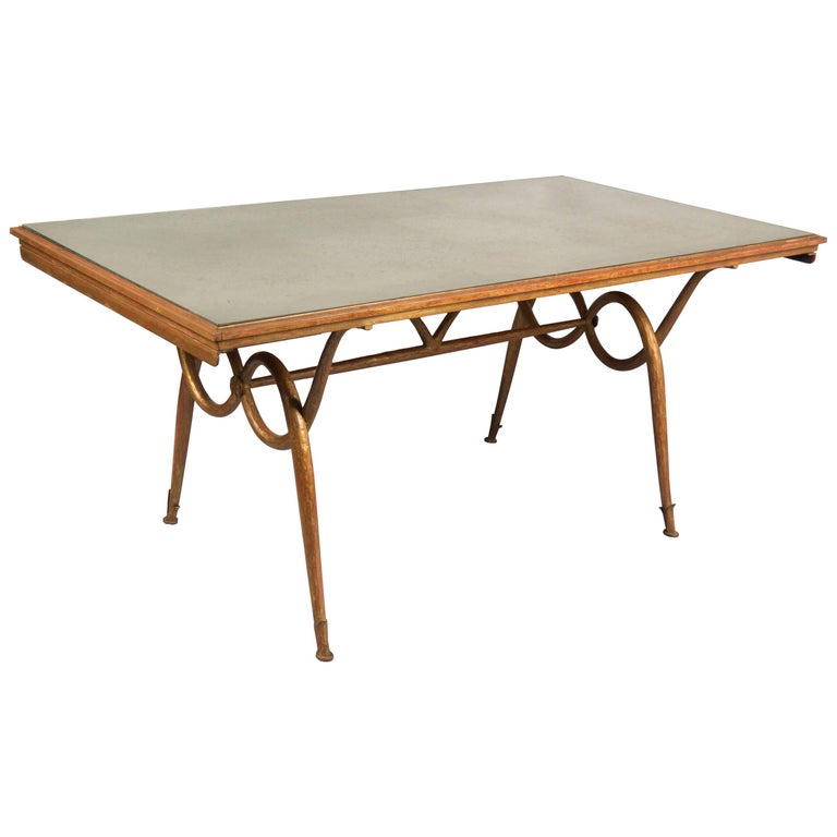 Gilded Iron Dining Table by René Drouet, France, 1940s For Sale