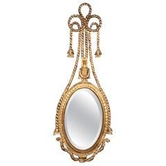 Gilded Italian Rope Tassle Wall Mirror, circa 1950
