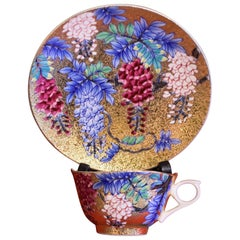 Japanese Gilded Contemporary Red Blue Porcelain Cup and Saucer by Master Artist