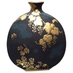 Gilded Japanese Porcelain Vase in Blue and Black by Master Artist