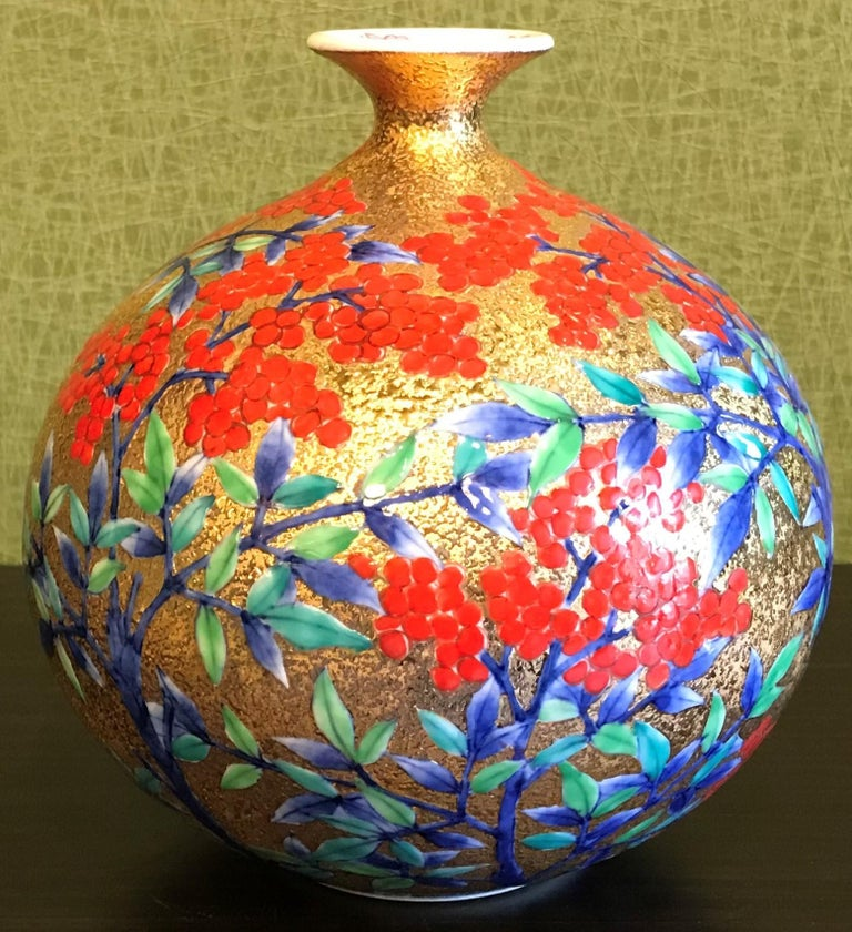 Gilt Gilded Japanese Red Green Porcelain Vase by Master Artist For Sale