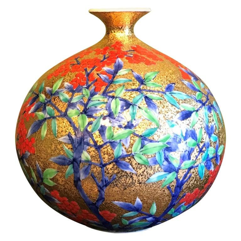 Gilded Japanese Red Green Porcelain Vase by Master Artist For Sale